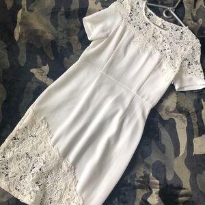 Dainty hooligan white lace knee length dress